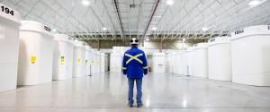 Conteneurs de stockage du combustible irradié sur le site de la centrale nucléaire Bruce